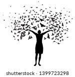 abstraction girl thinks. many... | Shutterstock .eps vector #1399723298