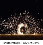 fire ring at night beach   Shutterstock . vector #1399750598