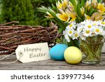 Tulips  Daisies Eggs And Easte...