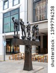 Small photo of Leipzig, Germany - October 2018: Bronze sculptures titled Untimely Contemporaries by Bernd Goebel installed on Grimmaische Street near Augustusplatz in downtown Leipzig, Germany