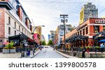 Vancouver. BC/Canada-April 24, 2019: Yaletown, a historic industrial area of Vancouver, where warehouses and factories have been converted to retail stores and condominiums - stock photo