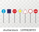 set of road signs isolated on... | Shutterstock .eps vector #1399828955