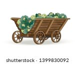 Wooden Wagon With White Cabbage ...
