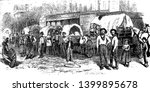 Wagon Train is a convoy or train of covered horse drawn wagons as used by pioneers or settlers in North America, vintage line drawing or engraving illustration.