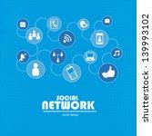 social network over blue... | Shutterstock .eps vector #139993102