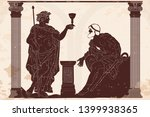 the ancient greek god of wine... | Shutterstock .eps vector #1399938365