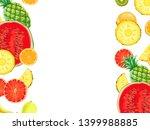 hand drawn exotic fruit border... | Shutterstock . vector #1399988885