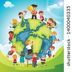 the earth with the children... | Shutterstock .eps vector #1400040335