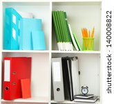 white office shelves with