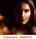 Beauty Girl Dark Portrait With...
