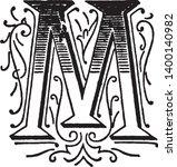 an ornamental capital letter m  ...   Shutterstock .eps vector #1400140982