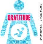 gratitude word cloud on a white ... | Shutterstock .eps vector #1400150258
