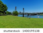 Stock photo sunny day at the tom mccall waterfront park on the willamette river near the hawthorne bridge 1400195138