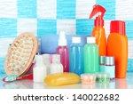 hotel cosmetics kit on shelf in ... | Shutterstock . vector #140022682