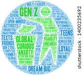 gen z word cloud on a white... | Shutterstock .eps vector #1400235692