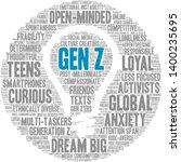 gen z word cloud on a white... | Shutterstock .eps vector #1400235695