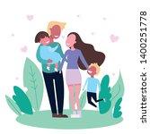 family spending time together... | Shutterstock .eps vector #1400251778