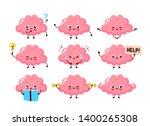cute happy brain set bundle...   Shutterstock .eps vector #1400265308