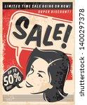 vintage sale comic style poster ... | Shutterstock .eps vector #1400297378