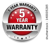 red 5 year warranty button | Shutterstock .eps vector #140035285