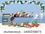Stock vector swedish midsummer in the archipelago with typical course of food including pickled herring new 1400358875