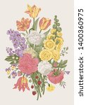 victorian bouquet. coral... | Shutterstock .eps vector #1400360975