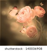 Stock photo bouquet of pink roses against a dark background butterfly 140036908