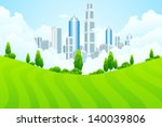 green landscape with trees and... | Shutterstock . vector #140039806
