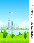 city landscape with green hills ... | Shutterstock . vector #140039812