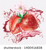 strawberry cut into slices into ... | Shutterstock .eps vector #1400416838