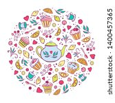 tea time card design for poster ... | Shutterstock .eps vector #1400457365