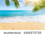sunny tropical beach with palm... | Shutterstock . vector #1400573735