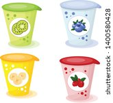 yogurts with fruit in cups... | Shutterstock .eps vector #1400580428