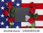 american flag with roses ... | Shutterstock . vector #1400585228