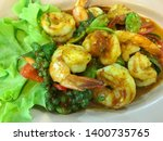 stir fried shrimp delicious... | Shutterstock . vector #1400735765