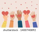 hands holding a heart  give and ... | Shutterstock .eps vector #1400740892