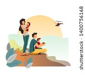friendly and happy family in... | Shutterstock .eps vector #1400756168