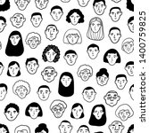seamless pattern with faces of... | Shutterstock . vector #1400759825
