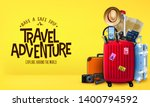 travel yellow background 3d... | Shutterstock .eps vector #1400794592