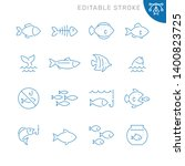 Fish Related Icons. Editable...