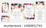 wedding invitation set marsala... | Shutterstock .eps vector #1400851742