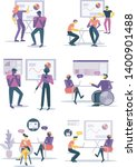 office workers discuss their... | Shutterstock .eps vector #1400901488