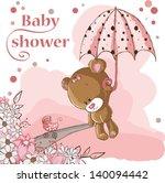 girl bear and umbrella | Shutterstock . vector #140094442