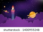spaceship in space with stars | Shutterstock .eps vector #1400955248