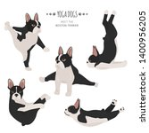 Stock vector yoga dogs poses and exercises french bulldog clipart vector illustration 1400956205