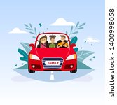 family journey by car to nature ... | Shutterstock .eps vector #1400998058