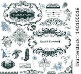 collection of hand drawn design ... | Shutterstock .eps vector #140100016