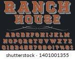 3d font typeface vector ranch... | Shutterstock .eps vector #1401001355