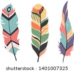 color set  feathers. vector... | Shutterstock .eps vector #1401007325