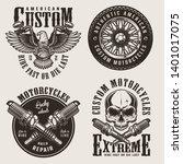 vintage custom motorcycle... | Shutterstock .eps vector #1401017075
